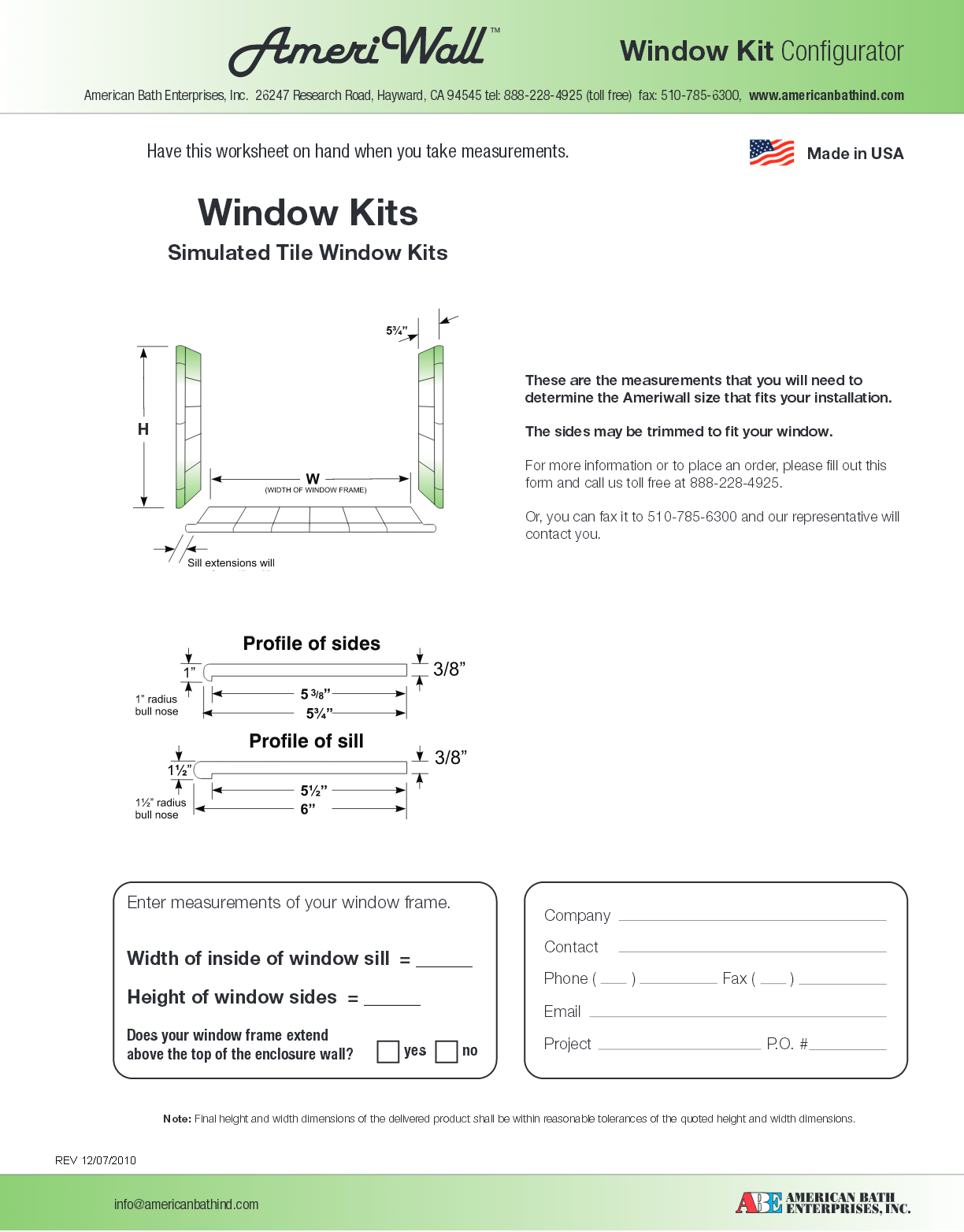 Ameriwall window kit