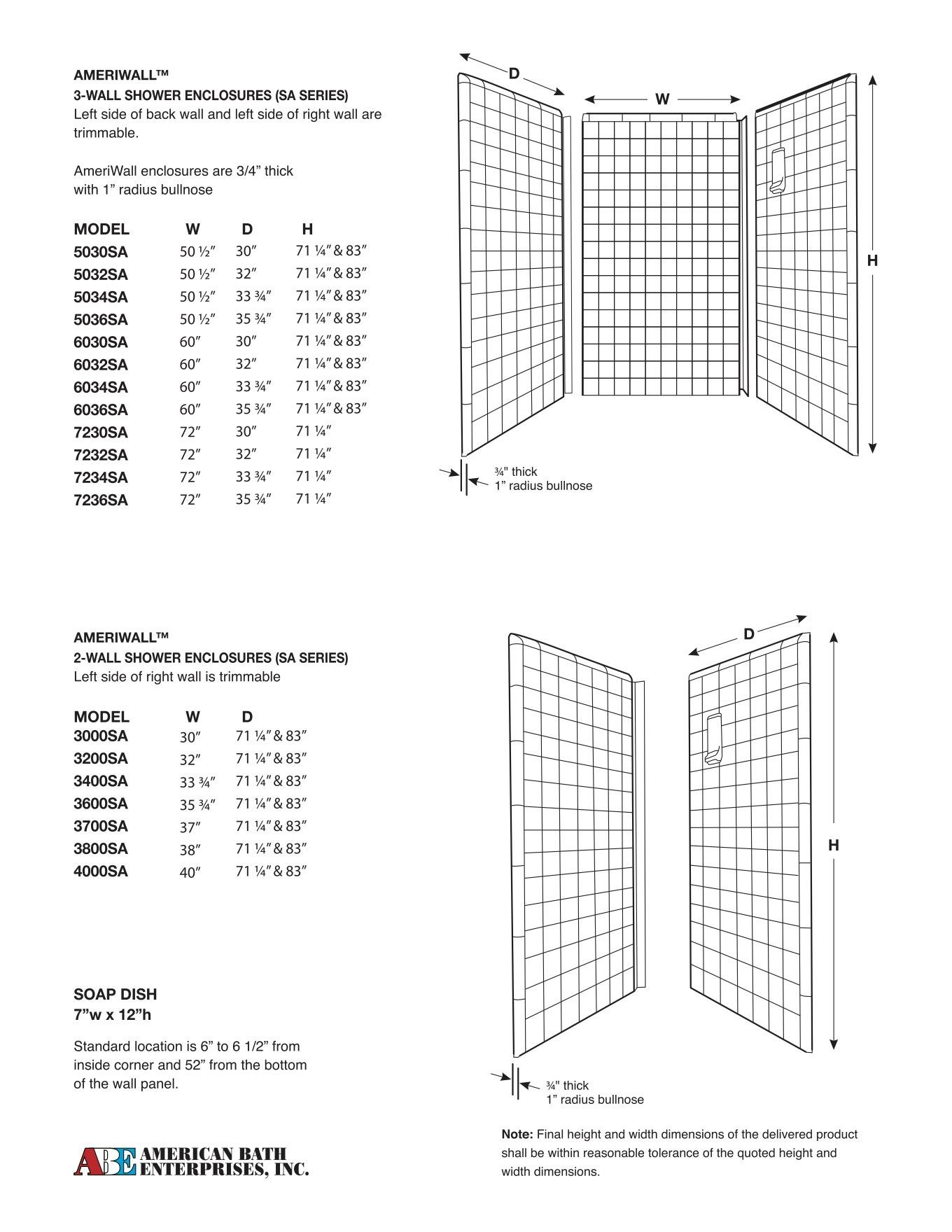 SA-series shower enclosures