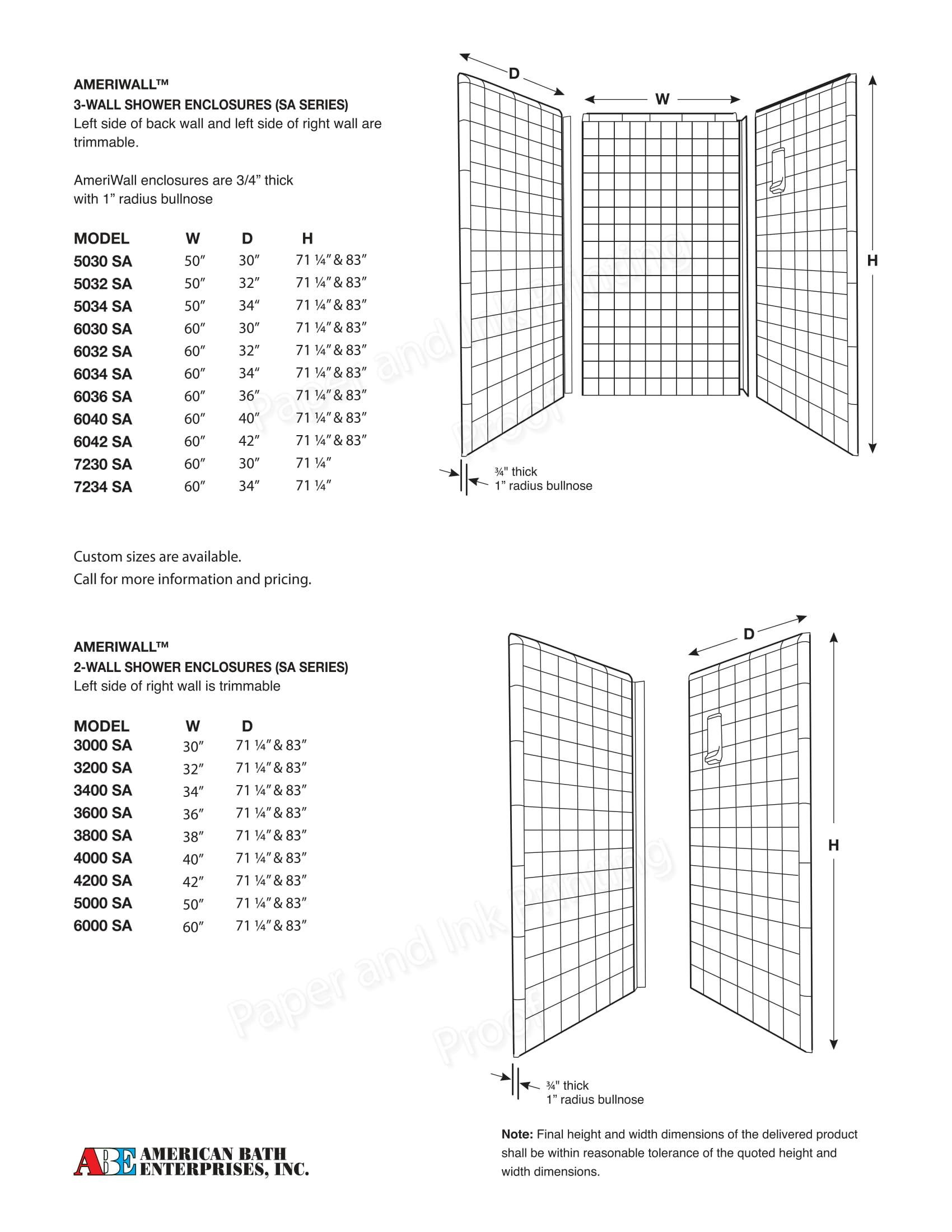 SA-series shower enclosures
