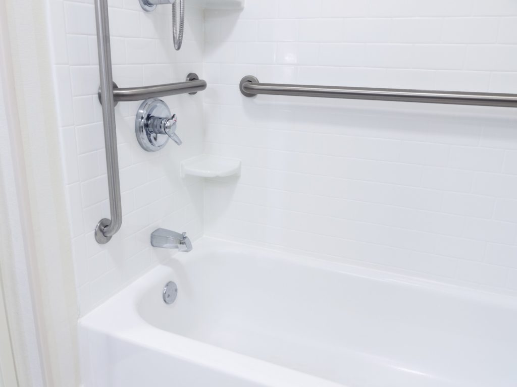 ADA compliant bathroom with grab bars