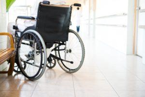 Wheelchair in a lobby