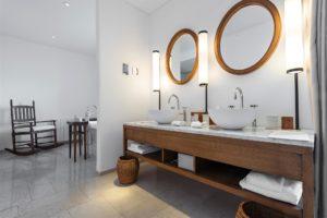 modern bathroom with double sink vanity