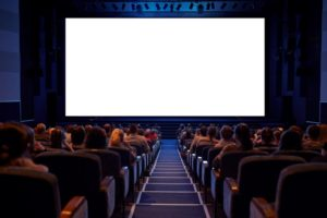 Blank projection screen in movie theater