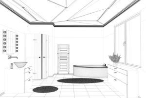 Rendered Image of Remodeled Bathroom