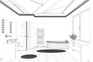 Rendered Image of Remodeled Bathroom