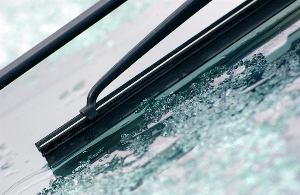 Frozen Ice on Car Windshield