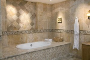 Bathtub enclosure with tile walls