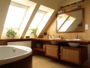 modern bathroom with double sink vanity and bathtub