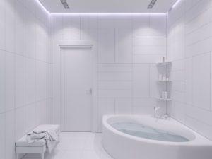 New Bathtub in a white remodeled bathroom