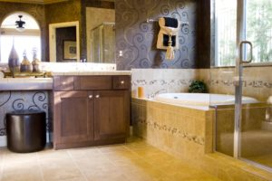 Remodeled bathroom with shower and bathtub