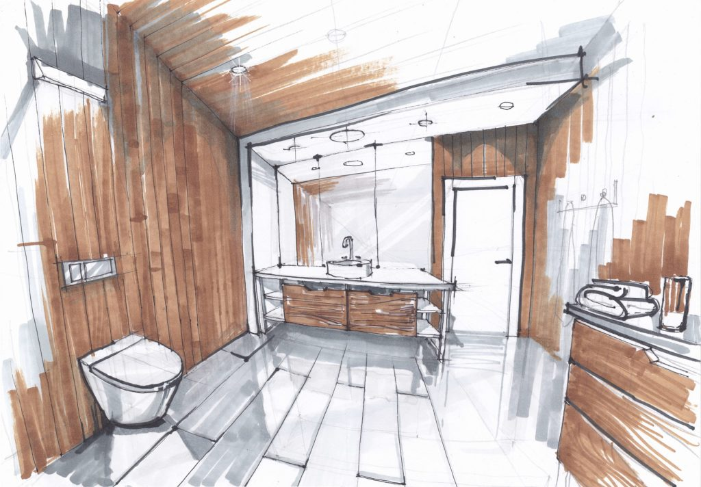 handmade sketch of a Luxury modern bathroom