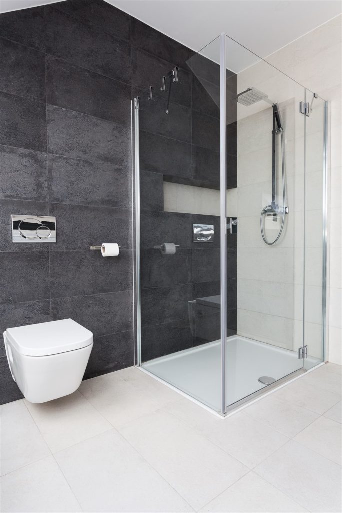 glass shower and white toilet