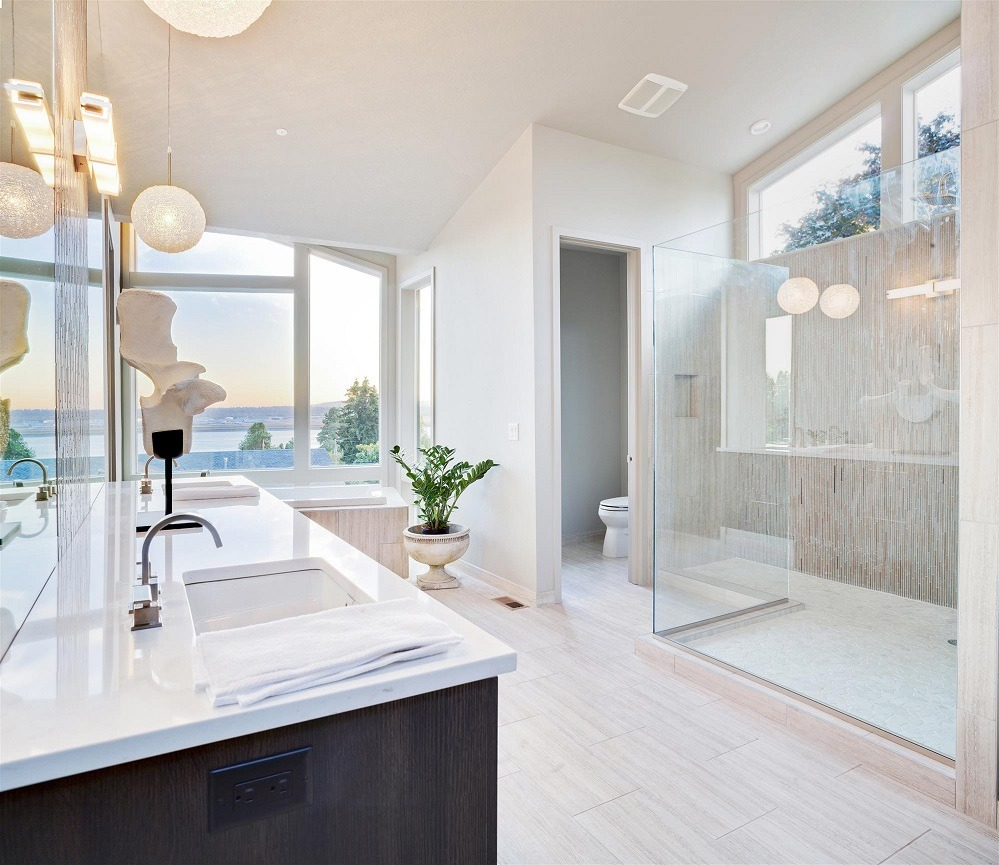 Creative Bathroom with Tile Glass Shower and White Stone Vanity Countertop