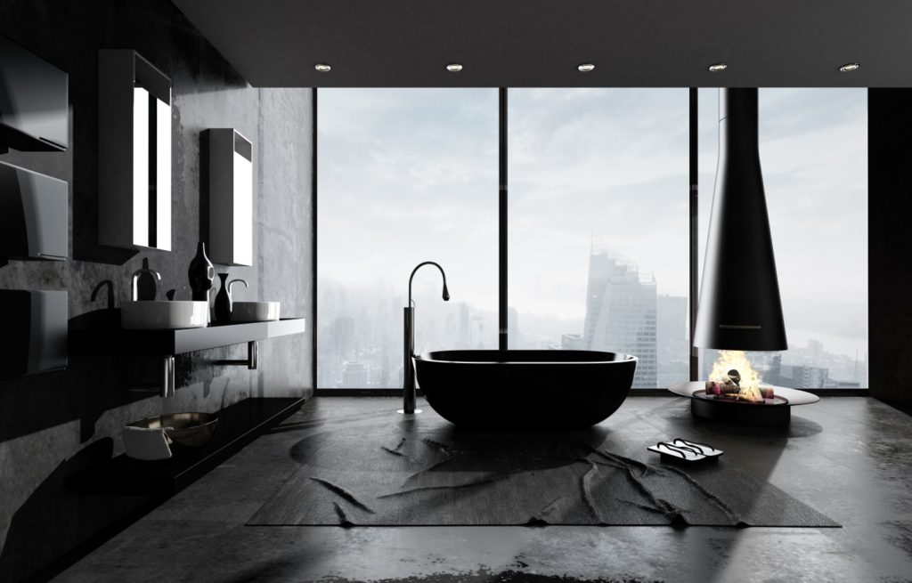 modern minimalist bathroom with large windows