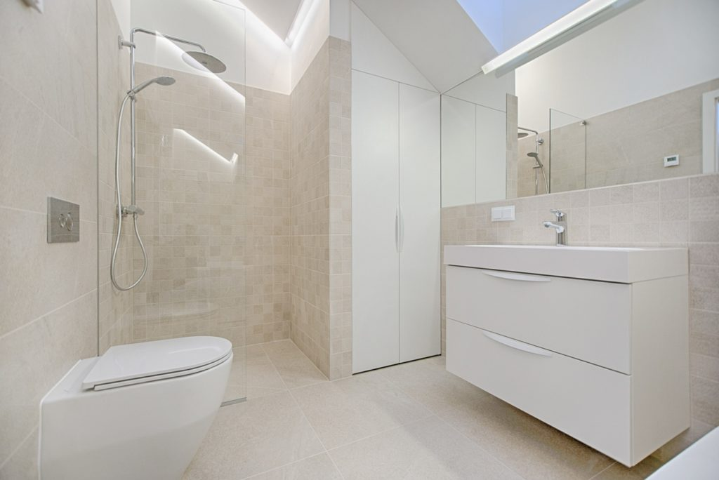 interior of a bathroom with shower cabin