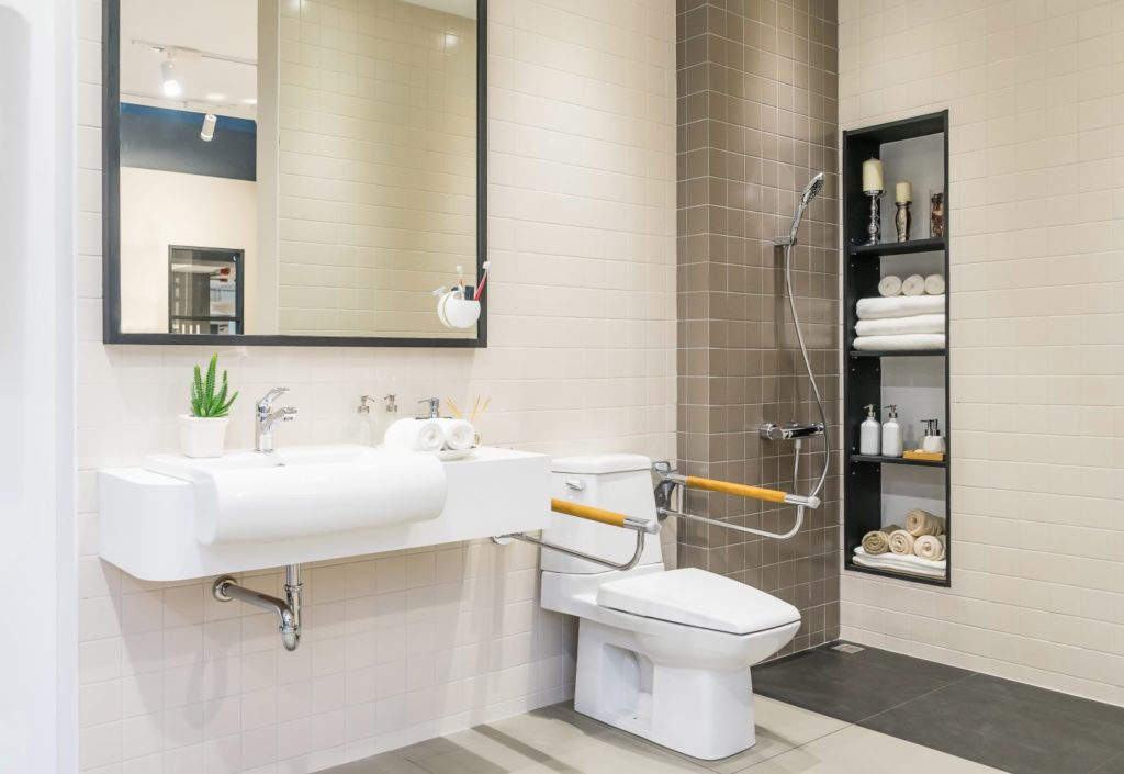 interior of bathroom for the disabled or elderly people
