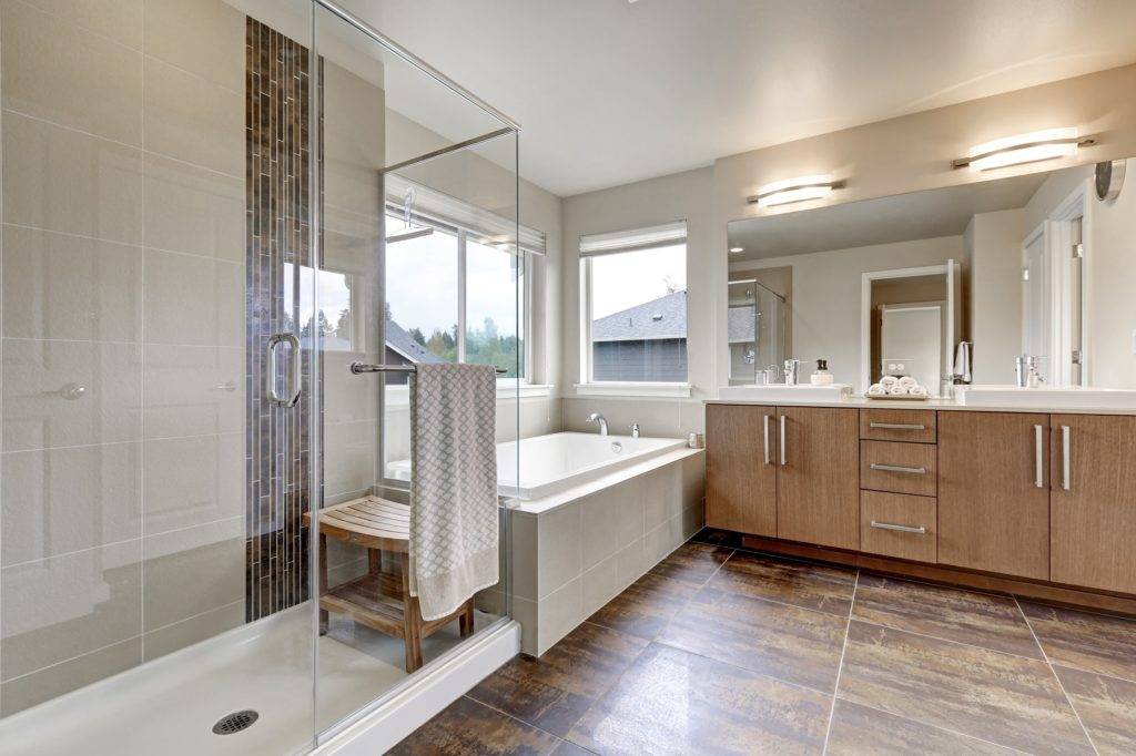 White modern bathroom interior in brand-new house