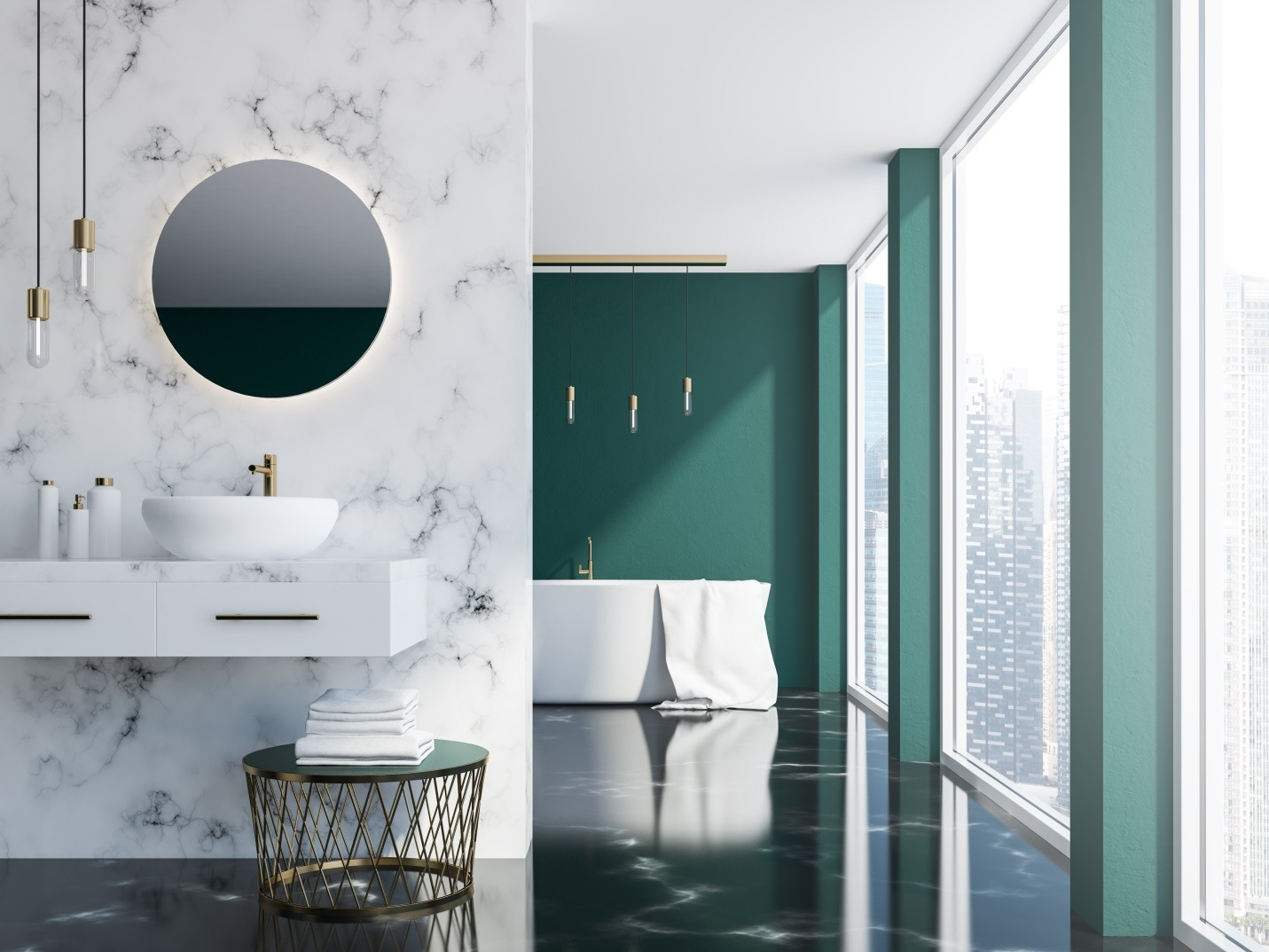 White marble and dark green loft bathroom with a sink and a round mirror
