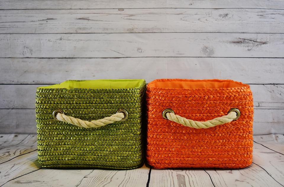 cord basket storage green and orange