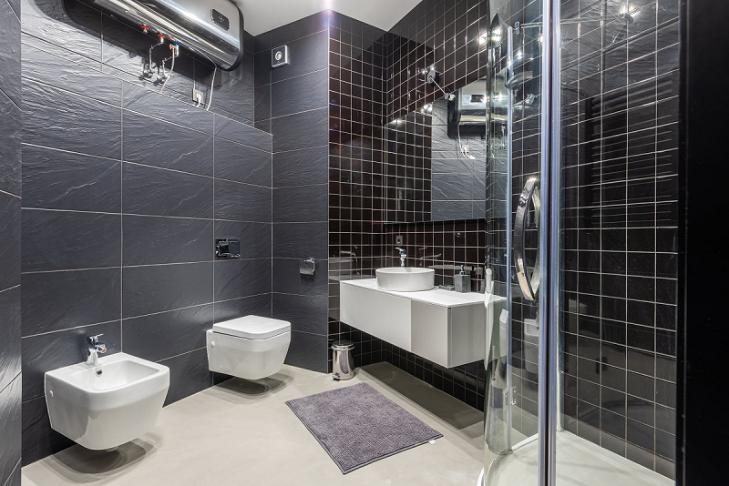modern bathroom with shower and bidet decorated with black tile