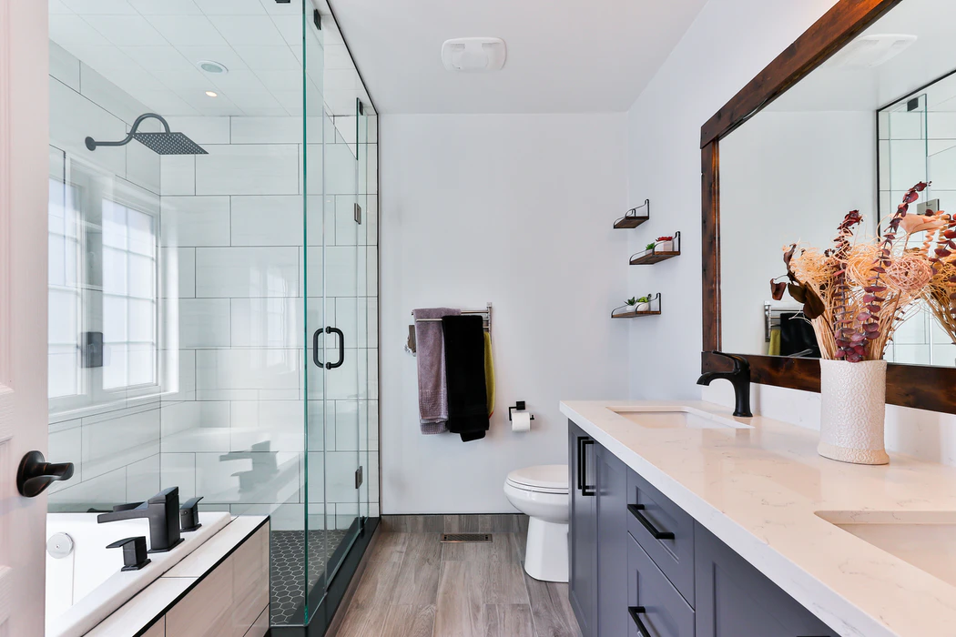 Bathroom with separated shower, toilet and basin